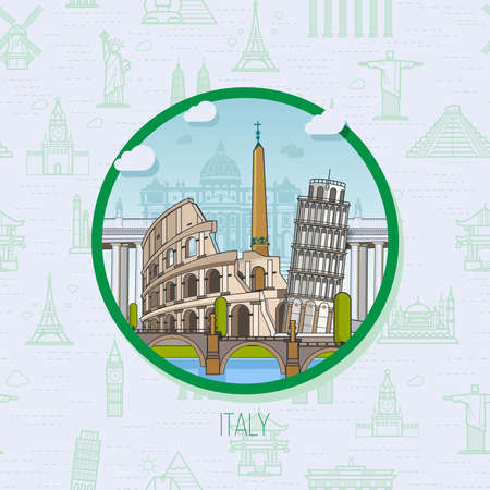 travel backgrounds: Italy. Rome landmarks, historic architecture, on the background of the landmarks with seamless backgrounds. The theme of travel in Europe Illustration