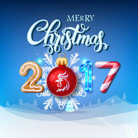 Merry Christmas 2017 decoration poster card. Happy New Year sign background and composition on a snowy field with Christmas toys and rooster, garlands, candy canes, gingerbread and snowflakes.Vector