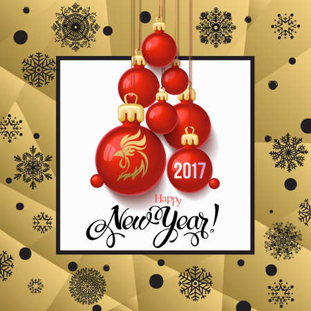 Happy New year 2017 decoration poster card and Merry Christmas background with  toys collected in the form of a Christmas tree, 2017 Year symbol, the fire cock.