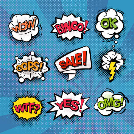 Speech and explosion bubbles on blue background with rays, comics background, symbols and sign crash, bingo, sale, oops. Vector isolate. 일러스트