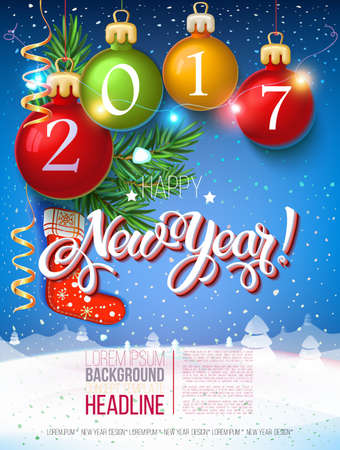 new year poster: Happy New year 2017 decoration poster card and merry Christmas background  with garlands, tree branches, snowflakes. Year symbol, the fire cock. Illustration