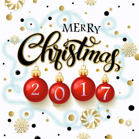 メリー クリスマス 2017 ポスター。クリスマス ツリーの枝と雪、冬のテーマ テンプレートの背景上の書道テキスト。ベクトル  イラスト・ベクター素材