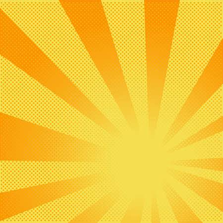 Estratto sfondo giallo dai raggi e punti in un modello, disegno vettoriale stile comico.