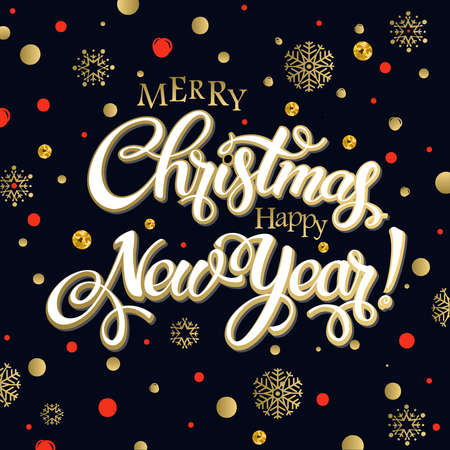 Merry christmas and happy new year 2017. Vector lettering on black background whit snowflake and red, gold dots on poster. Isolate font golden decor.