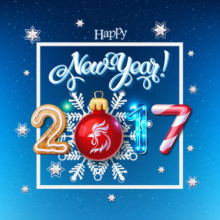 candy canes: Happy New Year 2017 decoration poster card.  Merry Christmas sign background and composition on a snowy field with Christmas toys and rooster, garlands, candy canes, gingerbread and snowflakes.Vector Illustration
