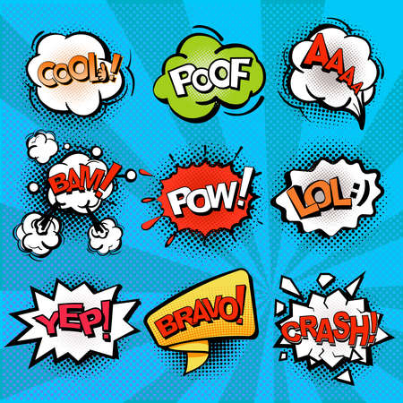 Speech and explosion bubbles on blue background with rays, comics background, symbols and sign crash, bravo, cool, lol. Vector isolate.