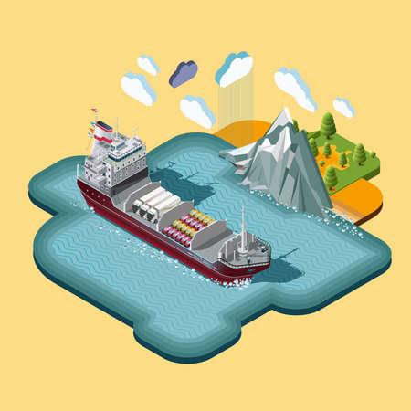 lake district: Isometric map, delivery of cargo, shipping maritime transport logistics, loading, transport, location, 3d vector. The concept of landscape with cargo delivery system.