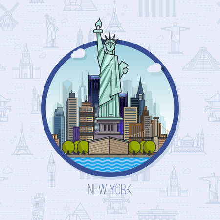 American landmarks, architecture, on the seamless background. The theme of travel for you design. New York location, vector symbol buildings