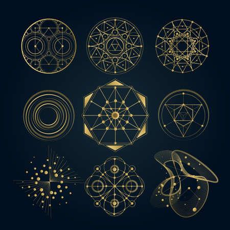 神聖な幾何学形線、記号、シンボルの形状。