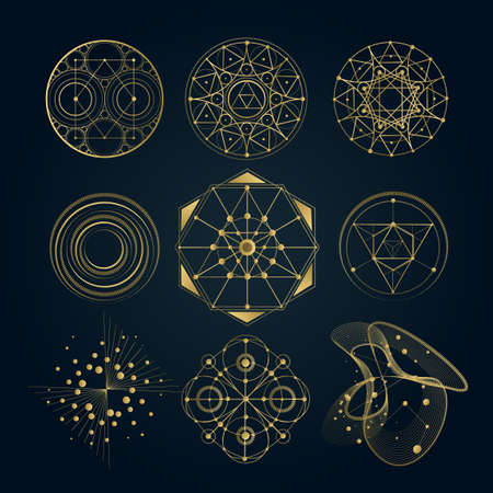 Sacred geometry forms, shapes of lines, sign, symbol. 일러스트