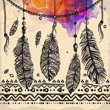 Vintage feathers ethnic pattern, tribal design, tattoo,  for fabric print, drawing on t-shirts. Background with feathers and leaves. watercolor ink. 일러스트