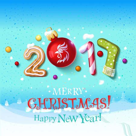 Happy New Year sign 2017 decoration poster card. Merry Christmas background and composition on a snowy field with Christmas toys and rooster, garlands,candy canes, gingerbread and snowflakes.Vector background 일러스트