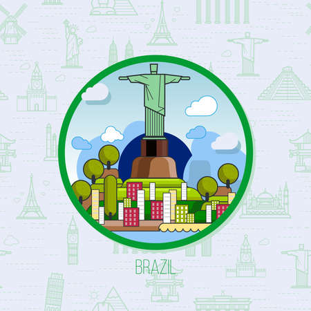 Brazilian landmarks, architecture, on the background of the flag. The theme of travel for you design.
