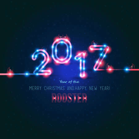 2017 New Year design. Sign the year of fire rooster. Vector neon figures with lights. Greeting card background. 일러스트