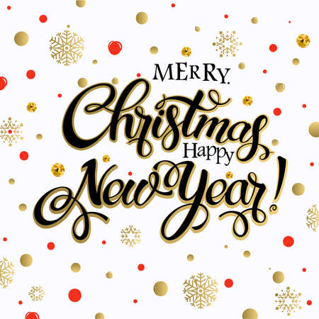 happy new year text: Merry Christmas and happy new year 2017. Vector lettering on white background whit snowflake and red, gold dots on poster. Isolate font golden decor. Illustration