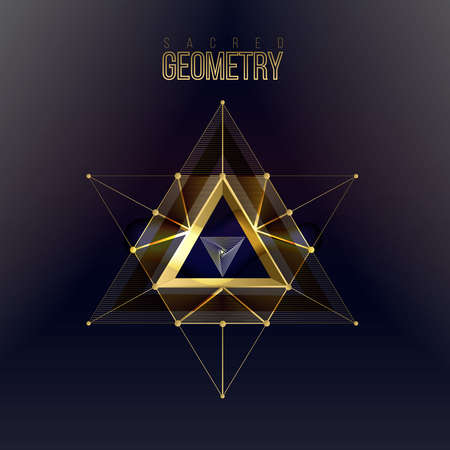 Sacred geometry forms on space background, shapes of lines, sign and symbol. Geometric patterns. Geometry symbolic triangle. Vector isolate gold shapes on dark color. 일러스트