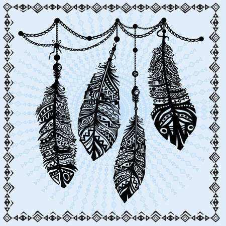Vintage feathers ethnic pattern, tribal design, tattoo,  for fabric print, drawing on t-shirts.