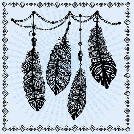 plumes Vintage motif ethnique, conception tribale, tatouage, pour l'impression de tissu, dessin sur T-shirt.