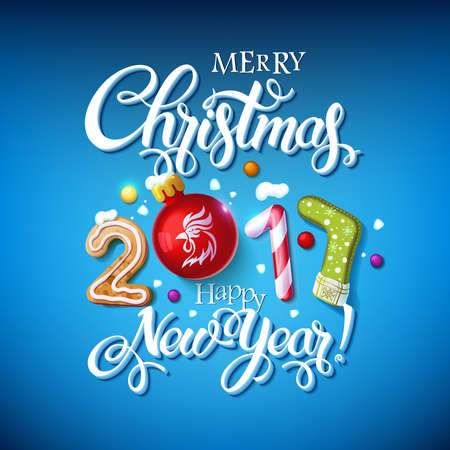 Merry Christmas 2017 Happy New Year sign. Background and composition on a snowy field with Christmas toys and stars, garlands, candy canes, gingerbread and snowflakes. Vector Decoration poster card
