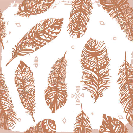 Vintage seamless feathers ethnic pattern, tribal design, tattoo,  for fabric print, drawing on t-shirts. Background with feathers and leaves.