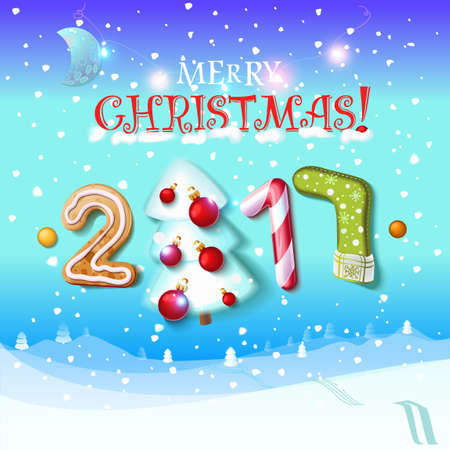candy canes: Happy New Year sign 2017 decoration poster card. Merry Christmas background and composition on a snowy field with Christmas trees and stars, garlands,candy canes, gingerbread and snowflakes.Vector Illustration