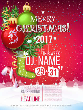 Merry Christmas 2017 decoration poster card and New year background  with garlands, tree branches, snowflakes, candy canes. 2017 Year symbol, the fire cock. 일러스트