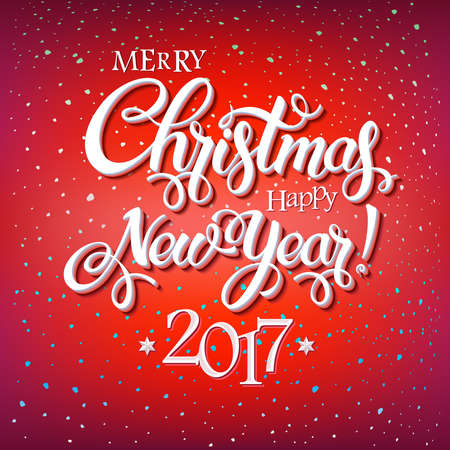 Merry Christmas and Happy New Year 2017 sign on reg background with snowflakes. Calligraphy text, poster template. Vector