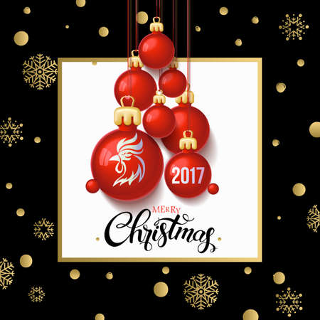 Merry Christmas 2017 decoration poster card and Happy New year background with  toys collected in the form of a Christmas tree, 2017 Year symbol, the fire cock.