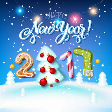 Happy New Year sign 2017 decoration poster card. Merry Christmas background and composition on a snowy field with Christmas trees and stars, garlands,candy canes, gingerbread and snowflakes.Vector 일러스트