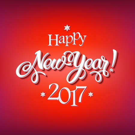 Happy New Year 2017 sign on reg background. Calligraphy text, poster template. Vector 일러스트