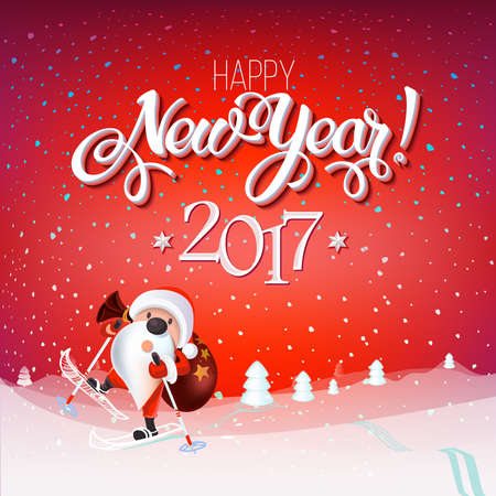 new year poster: Santa Claus on skis with a bag of gifts, snowy landscape, Christmas card Happy New Year 2017 sign on reg background. Calligraphy text, template. Vector Decoration poster card Illustration