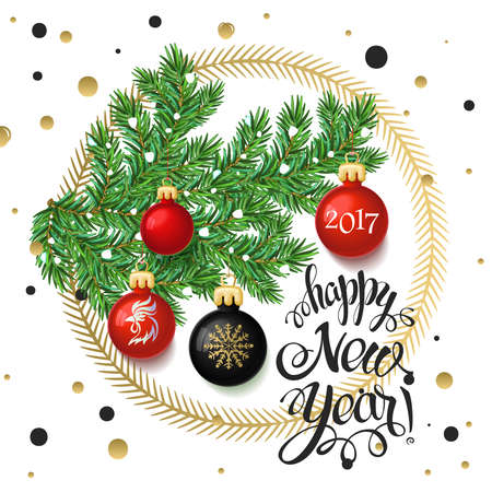 Merry Christmas 2017 decoration poster card and Happy New year background with toys collected in the form of a Christmas tree, 2017 Year symbol, the fire cock. 일러스트