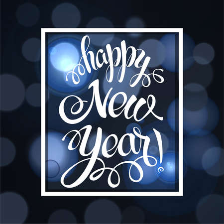 Happy New year 2017 sign symbols. Calligraphy text, on the black background with bokeh effect. Christmas lights, winter theme template. Vector