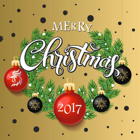 Merry Christmas 2017 poster card. Calligraphy text, on the gold background with black and red Christmas toys with branches of a tree. Winter theme template. Vector 일러스트