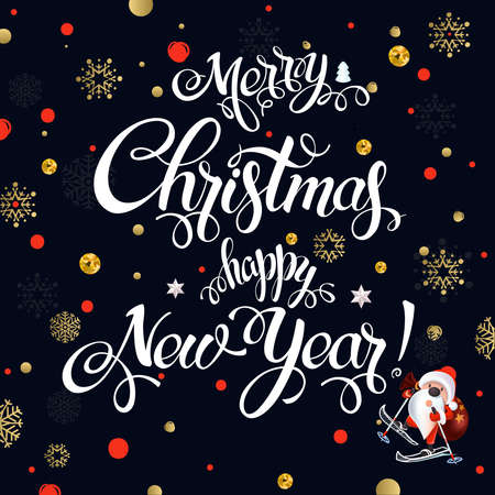 Merry Christmas and Happy New Year 2017 sign on black background with snowflakes. Calligraphy text, poster template. Vector