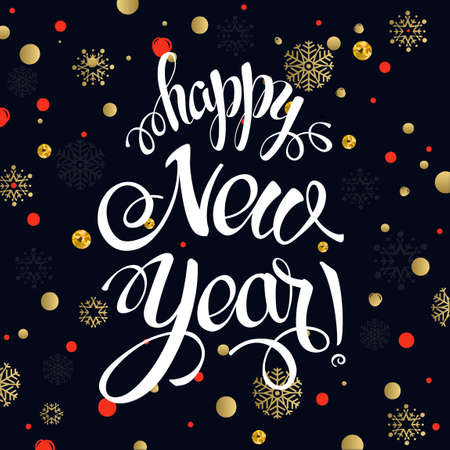 Happy New year 2017 poster card. Calligraphy text, on the black background with gold snowflakes. Christmas sign, winter theme template. Vector