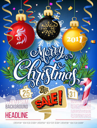 Merry Christmas big sale 2017 Vector lettering on blue background  poster card with garlands, tree branches, snowflakes. Design Poster Black Friday, big sale, New year discounts. Year symbol fire cock