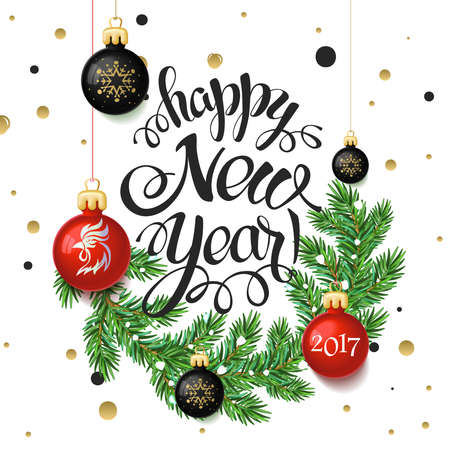 Happy New year 2017 poster card. Calligraphy text, on the white background with gold snowflakes, and the branches of a Christmas tree with toys. Signs isolate, winter theme template. Vector