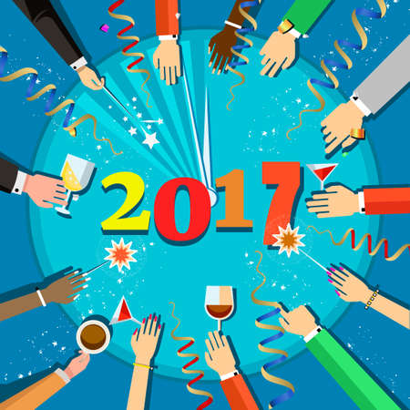 People hands and a glasses in their hands, top view. People of different nationalities celebrate the New Year, holiday attributes,Vector flat illustration. Christmas celebration 2017