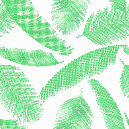 Seamless pattern with tropical palm leaves on white background collected from dots. Vector Nature illustration. Abstract art.