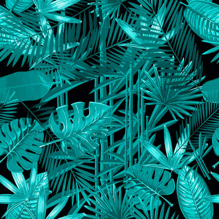 Seamless pattern with tropical palm leaves on black background. Vector Nature illustration. Monochrome colors.