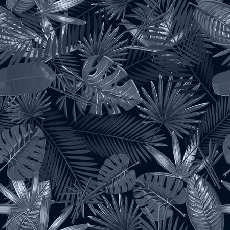 Seamless pattern with tropical palm leaves on black background.
