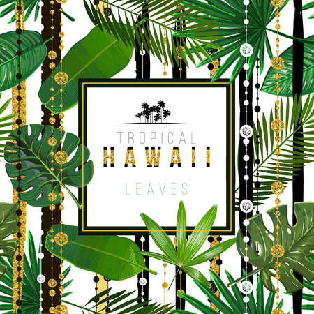 Vector Seamless pattern with tropical leaves with ethnic design patterns. Stripes with golden texture on background. Art illustration.Inscription tropical Hawaii leaves 일러스트