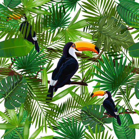 Vector Seamless pattern with tropical leaves and bird toucan on a branch on transparent background. Nature wallpaper illustration