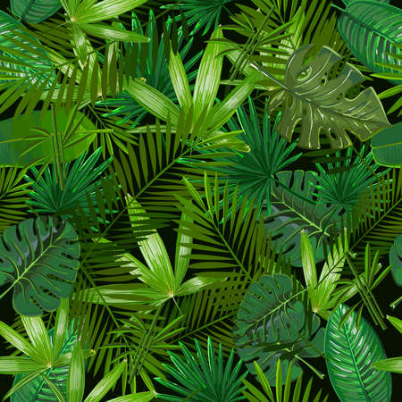Seamless pattern with tropical palm leaves on black background. Vector Nature illustration