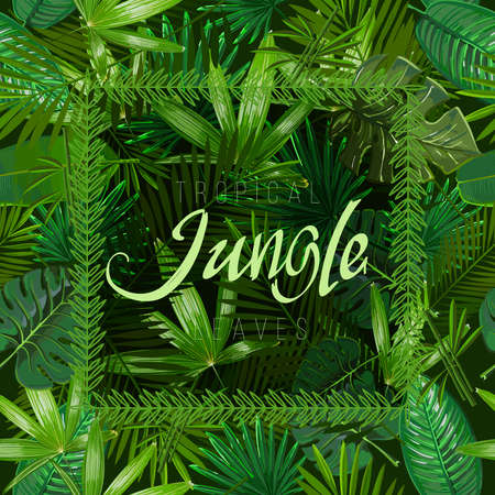 Vector Seamless pattern with tropical leaves on black background. 일러스트