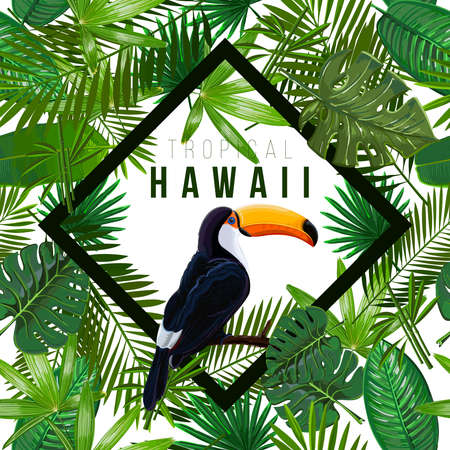 Vector Seamless pattern with tropical leaves and bird toucan on a branch on white background.Nature illustration the inscription of Hawaii in a rhombus. 일러스트