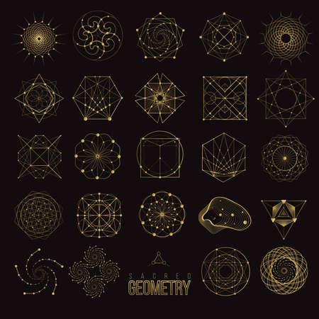 Set Sacred geometry forms, shapes of lines, logo, sign, symbol.