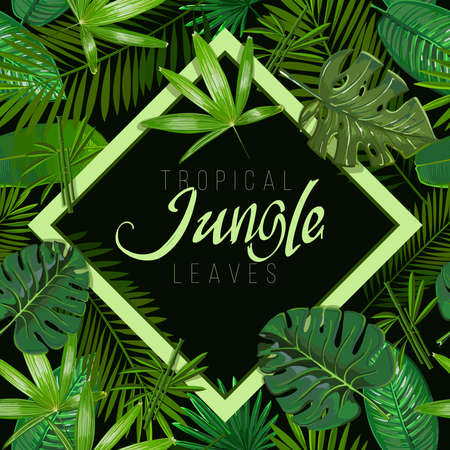 Vector Seamless pattern with tropical leaves on black background.Nature illustration the inscription of Jungle in a rhombus.