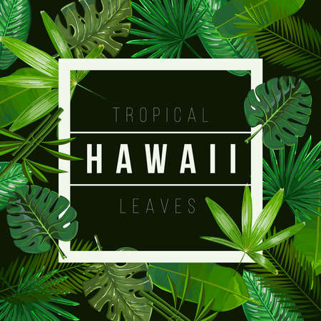 Vector Tropical leaves on black background.Nature illustration With the inscription of Hawaii. 일러스트